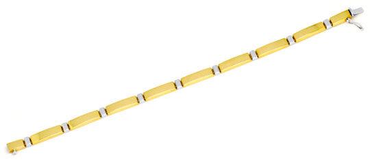 Foto 1, Designer Platten-Gold-Armband Gelb-Gold Weiss-Gold Shop, K2217
