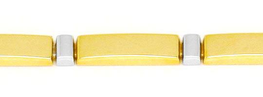Foto 2, Designer Platten-Gold-Armband Gelb-Gold Weiss-Gold Shop, K2217