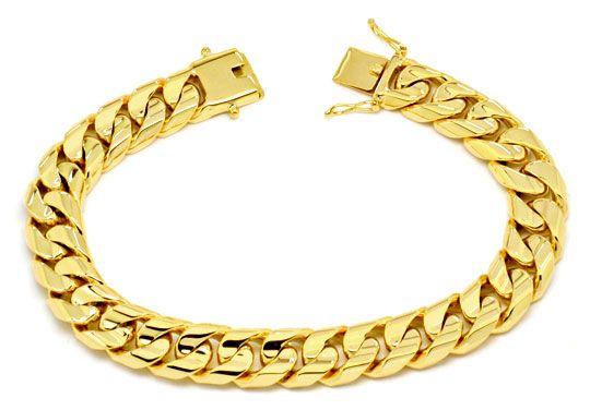 Foto 1, Designer Flachpanzer Goldarmband massiv Gelbgold Luxus!, K2220
