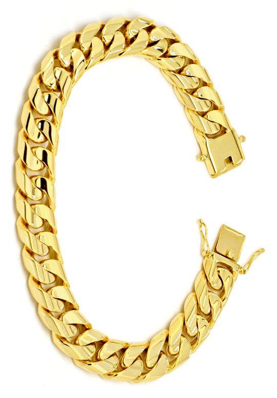 Foto 2, Designer Flachpanzer Goldarmband massiv Gelbgold Luxus!, K2220