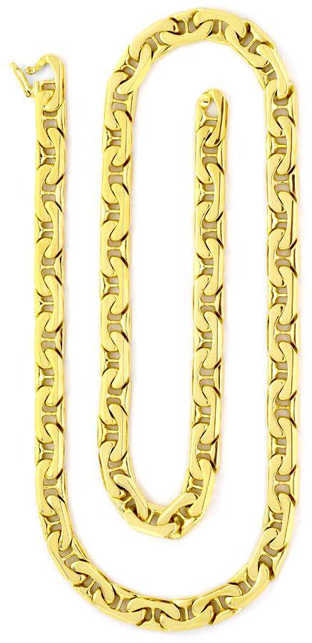 Foto 2, Set Goldkette Goldarmband gewölbte Steg-Flachpanzer 14K, K2221