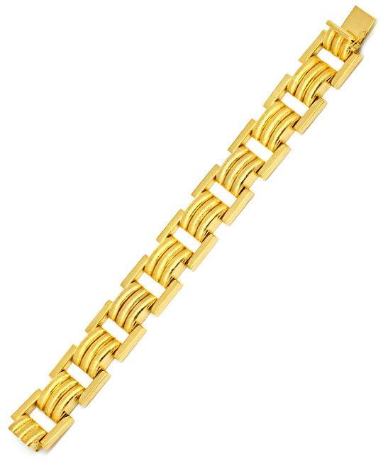 Foto 3, Phantasie Designer Goldarmband Gelbgold Graviert Luxus!, K2226