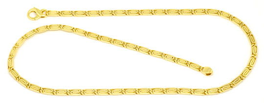 Foto 1, Massive S-Flachpanzre Kette Goldkette Kollier Gelb-Gold, K2229