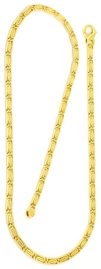 Foto 3, Massive S-Flachpanzre Kette Goldkette Kollier Gelb-Gold, K2229