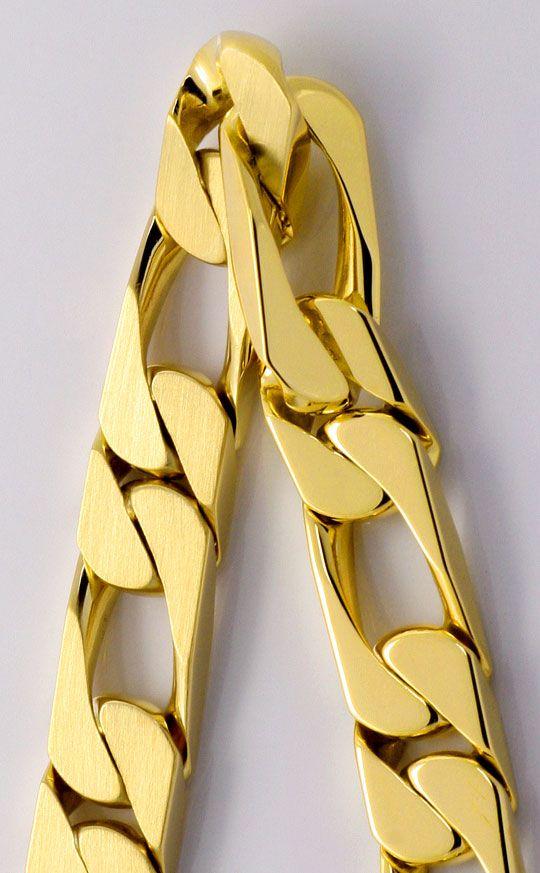 Foto 2, Figaro Flachpanzer Goldarmband mattiert massiv Gelbgold, K2238