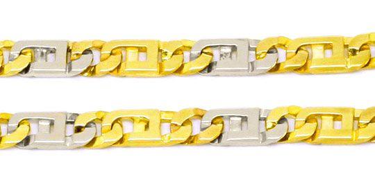 Foto 2 - Designer Steg Flachpanzer Goldkette Kollier Bicolor 14K, K2244