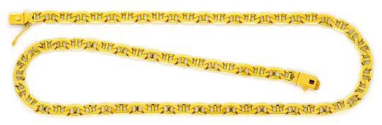 Foto 1, Stegpanzer-Flachpanzerkette Gold-Kette massiv Gelb-Gold, K2261