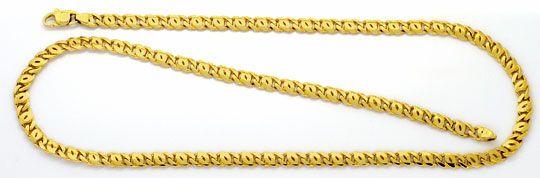 Foto 1, Pfauenauge Tigerauge Flachpanzer Goldkette Gelbgold Neu, K2262