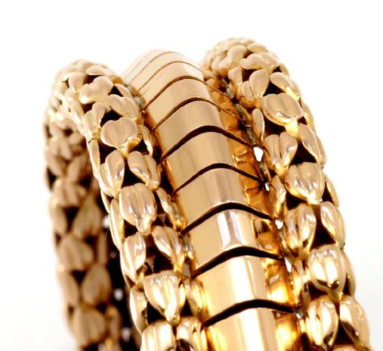 Foto 2, Designer Goldarmband Gelbgold Rötlich Himbeermuster 18K, K2267