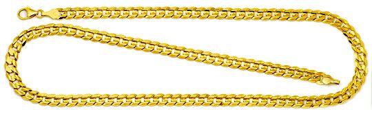 Foto 1, Designer Flachpanzer Gold-Kette konkaver Schliff massiv, K2270