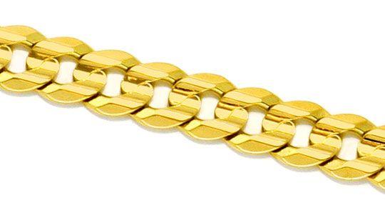 Foto 2, Designer Flachpanzer Gold-Kette konkaver Schliff massiv, K2270