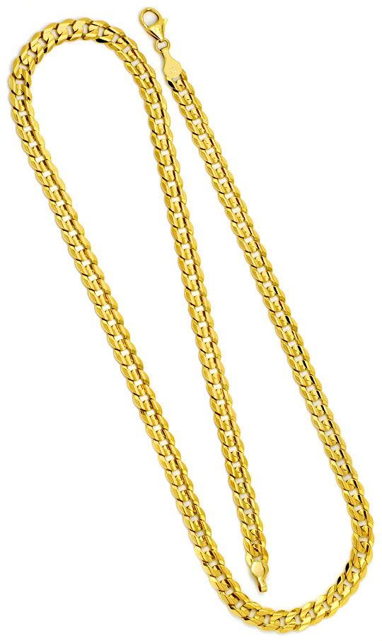 Foto 3, Designer Flachpanzer Gold-Kette konkaver Schliff massiv, K2270