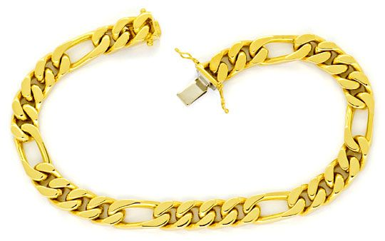 Foto 1, Figaro Flachpanzer Armband Goldarmband massiv Gelb-Gold, K2271