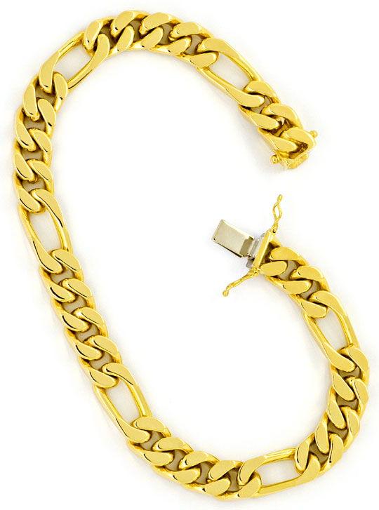 Foto 3, Figaro Flachpanzer Armband Goldarmband massiv Gelb-Gold, K2271