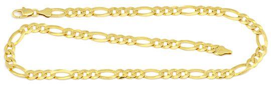 Foto 1, Massive Goldkette Figaro Gelbgold 14K/585 6,3 mm Breite, K2272