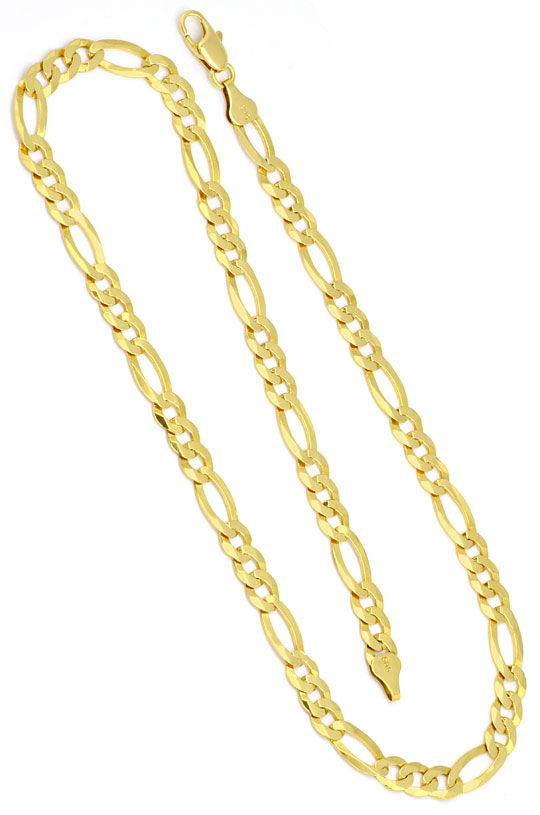 Foto 3, Massive Goldkette Figaro Gelbgold 14K/585 6,3 mm Breite, K2272