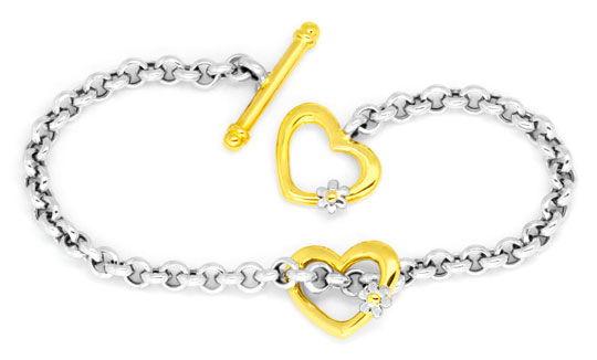 Foto 1, Set Gold-Kollier Goldarmband Herzen Blüten Erbsenketten, K2275