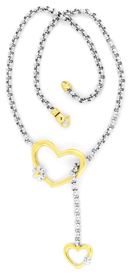 Foto 2, Set Gold-Kollier Goldarmband Herzen Blüten Erbsenketten, K2275