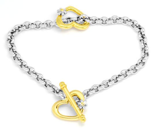 Foto 3, Set Gold-Kollier Goldarmband Herzen Blüten Erbsenketten, K2275