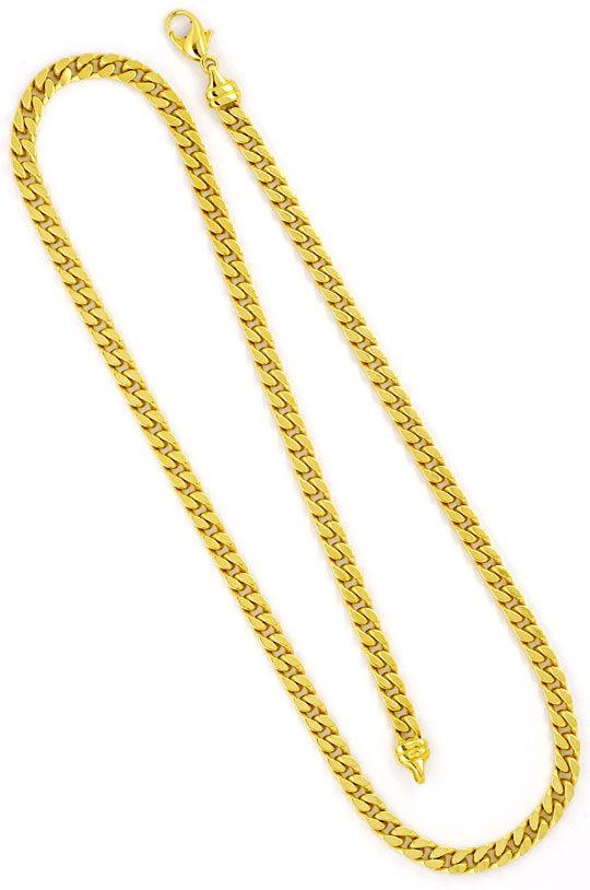 Foto 3, Massive Flachpanzer Goldkette Gelbgold 18K/750 Gold Neu, K2276