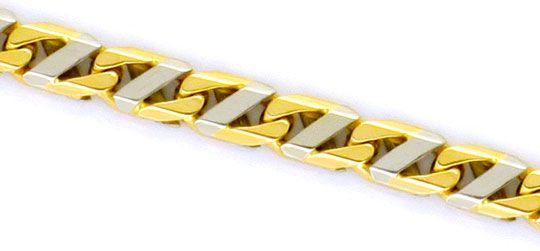 Foto 2, Designer Stegpanzer Goldkette massiv Gelbgold Weissgold, K2277