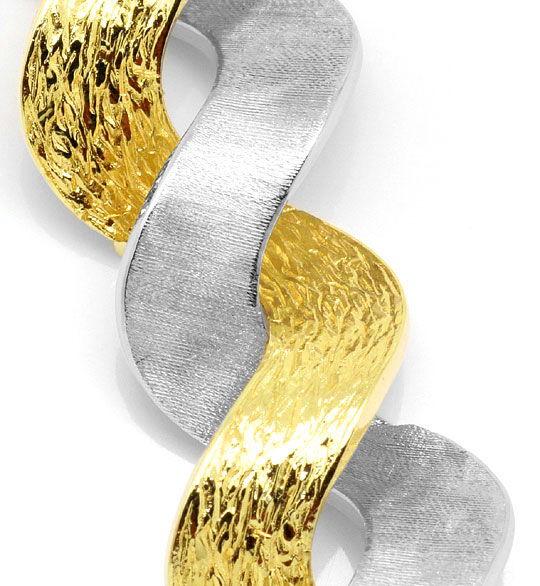 Foto 2, Design-Goldarmband mattiert-Graviert Gelbgold Weissgold, K2283