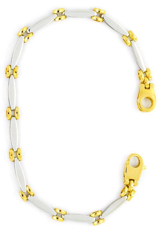 Foto 3, Fantasie Designer Gold-Armband Ovale und Ronden 18K/750, K2288