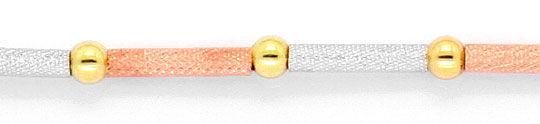 Foto 2, Designer Zylinder-Kugeln-Goldkette Tricolor Kollier 750, K2290