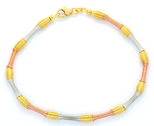 Foto 1, Goldkollier Goldarmband Verlauf-Spiralen Gelb-Rot-Weiss, K2291