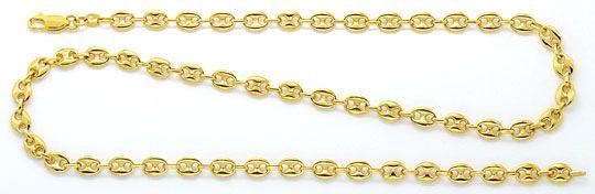 Foto 1, Massive Bohnen Schiffsanker Marina Gold-Kette Gelb-Gold, K2292