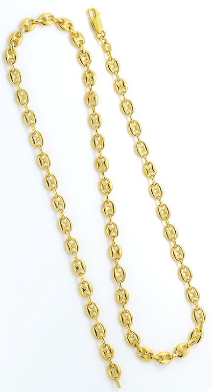 Foto 3, Massive Bohnen Schiffsanker Marina Gold-Kette Gelb-Gold, K2292