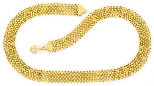 Foto 1, Breites Flecht-Gold-Kollier Goldkette Gelb-Gold 14K/585, K2293
