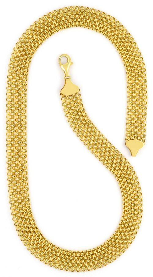 Foto 3, Breites Flecht-Gold-Kollier Goldkette Gelb-Gold 14K/585, K2293