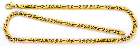 Foto 1, Flachpanzer Goldkette Pfauenauge Tigerauge Gold-Glieder, K2296