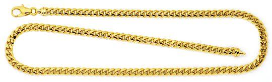 Foto 1, Gewölbte Flachpanzer Gold-Kette massiv Gelbgold 14K/585, K2299