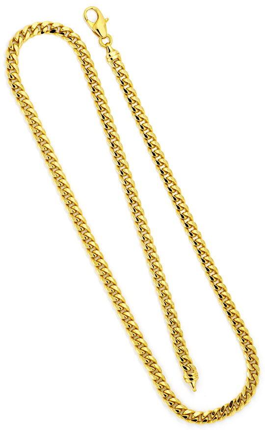 Foto 3, Gewölbte Flachpanzer Gold-Kette massiv Gelbgold 14K/585, K2299