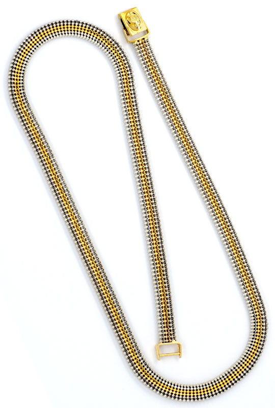 Foto 3, Kugel-Kette sechs-reihige Gold-Kette Gelbgold Weissgold, K2302