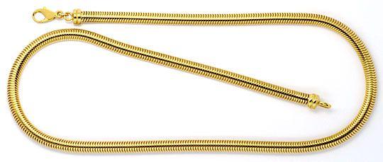 Foto 1, Massive Ovale Schlangen-Goldkette Kollier Gelb-Gold 18K, K2303