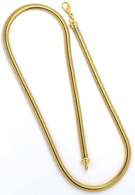 Foto 3, Massive Ovale Schlangen-Goldkette Kollier Gelb-Gold 18K, K2303