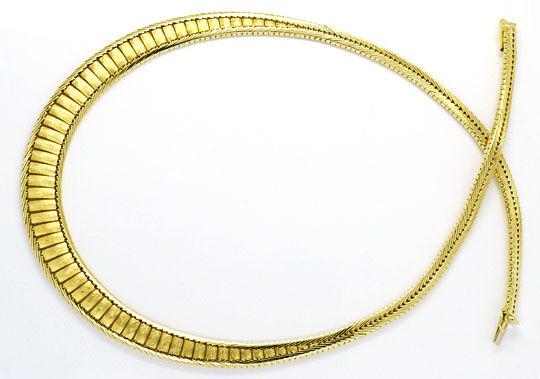 Foto 1, Design-Goldkollier massiv Gelbgold Hunderte Einzelteile, K2304