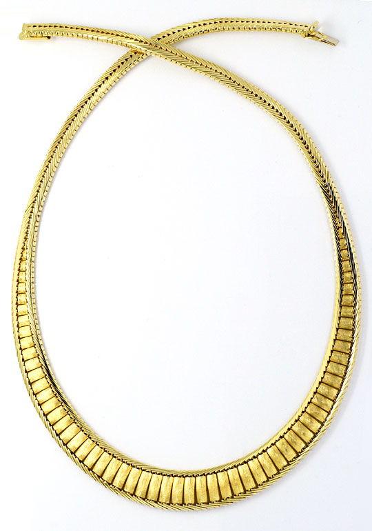 Foto 3, Design-Goldkollier massiv Gelbgold Hunderte Einzelteile, K2304