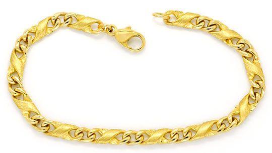 Foto 1, Dollar Flachpanzer gewölbt Designer Gold-Armband massiv, K2305