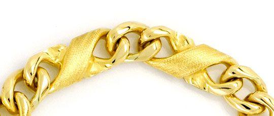 Foto 2, Dollar Flachpanzer gewölbt Designer Gold-Armband massiv, K2305