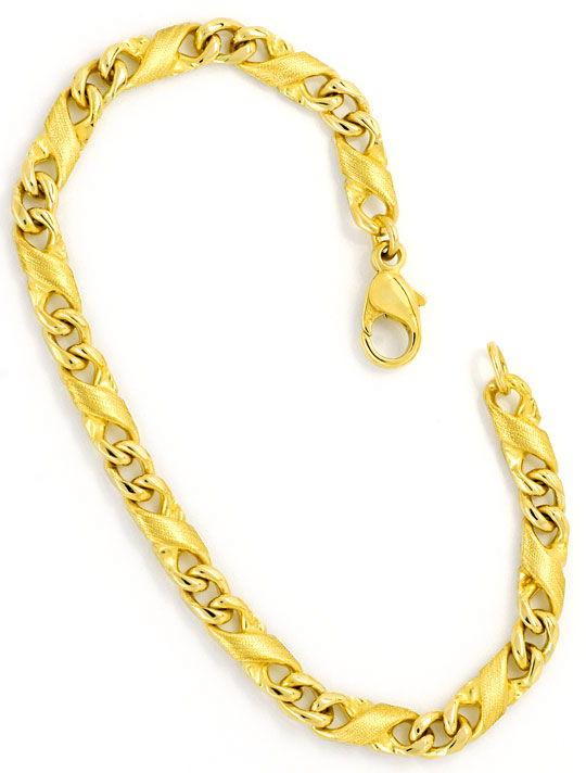 Foto 3, Dollar Flachpanzer gewölbt Designer Gold-Armband massiv, K2305