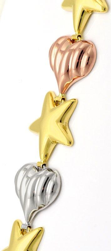 Foto 2, Herzen Sterne Goldarmband Rot-Gold Gelb-Gold Weiss-Gold, K2320