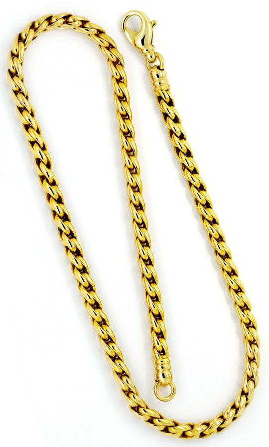 Foto 3, Zopfkette Zopf-Goldkette Goldkollier Gelbgold Karabiner, K2324