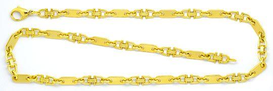 Foto 1, Goldkette Plättchen Steigbügel Goldkollier 14K Gelbgold, K2326