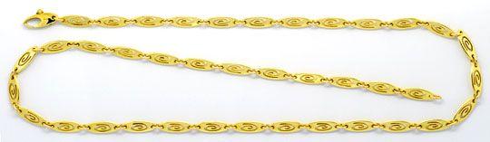 Foto 1, Designer Plättchen Spiral Gelbgoldhalskette mit Diamant, K2337