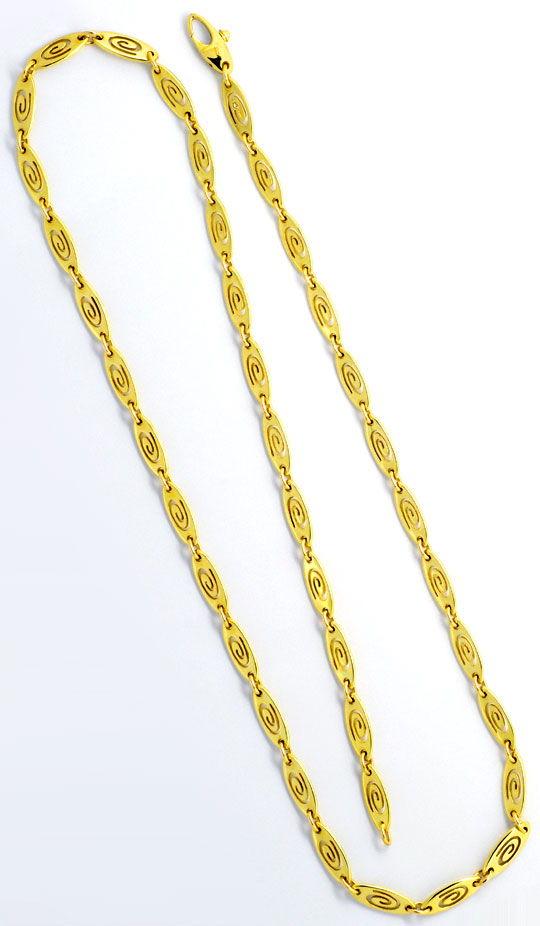 Foto 3, Designer Plättchen Spiral Gelbgoldhalskette mit Diamant, K2337