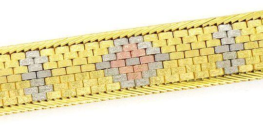 Foto 3, Backstein Fischgrät Armband, Rotgold Gelbgold Weissgold, K2338